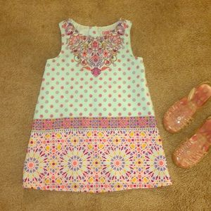 Colorful toddler 4T shift dress + free jelly shoes